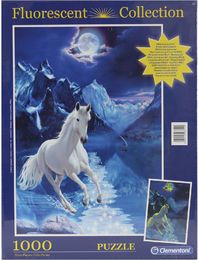 Clementoni 98751 -Fluorescent Collection-Puzzle 1000 Teile, Glow in the dark-The white Stallion
