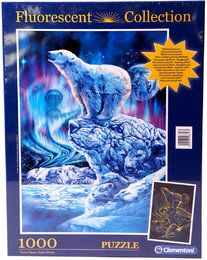 Clementoni 98757 -Fluorescent Collection -Puzzle 1000 Teile, Polar Bär