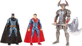 Mattel FGG57 DC - Justice League Movie Basis 15cm Actionfiguren, 3er Actionfigur Pack, Spielzeug