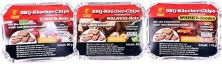 Flash BBQ-Räucher-Chips Probier-Set Kirsche Walnuss Whisky Räucherspäne Räucher-Holz Grill