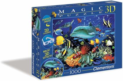 Clementoni 39186.8 - Puzzle Magic 3D 1000 teilig Dolphin Reef