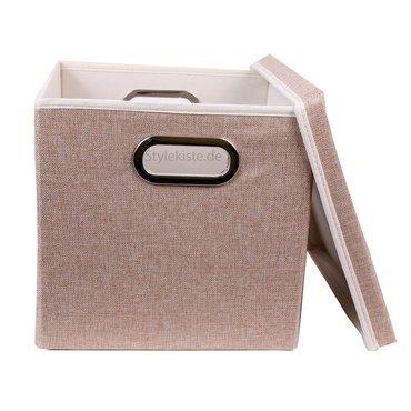 aufbewahrungs box mit deckel aus stoff mit pappe in beige 27 x 28 x 30 cm kaufen