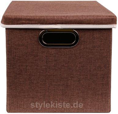 aufbewahrungs box mit deckel aus stoff mit pappe in braun 27 x 28 x 30 cm online kaufen. Black Bedroom Furniture Sets. Home Design Ideas