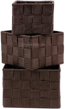 aufbewahrungsbox 3er set quadratisch geflochten korb box badezimmer kiste regal ebay. Black Bedroom Furniture Sets. Home Design Ideas
