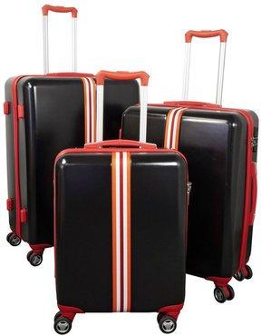 kofferset 3 tlg trolleyset reisekoffer abs hartschale 39 korsika 39 schwarz blau ebay. Black Bedroom Furniture Sets. Home Design Ideas