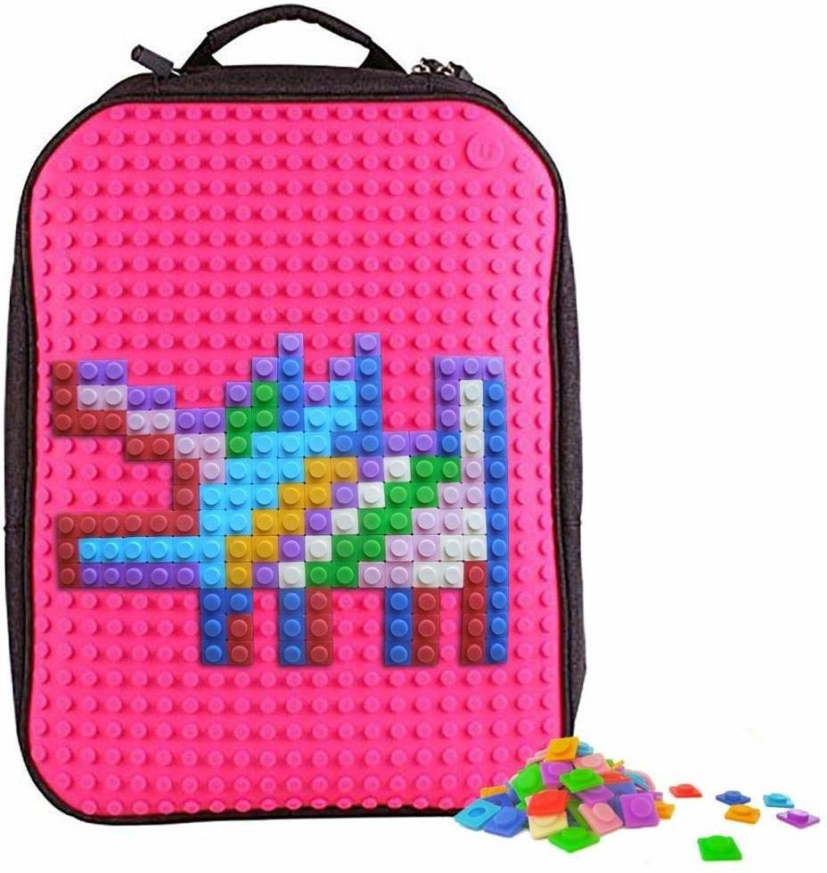 Upixel Trends Double Backpack Rucksack, 43 cm, 15.0 L(Schwarz/Magenta)