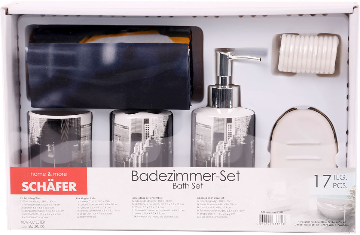 Badezimmer-Set 17-teilig WC Garnitur New York