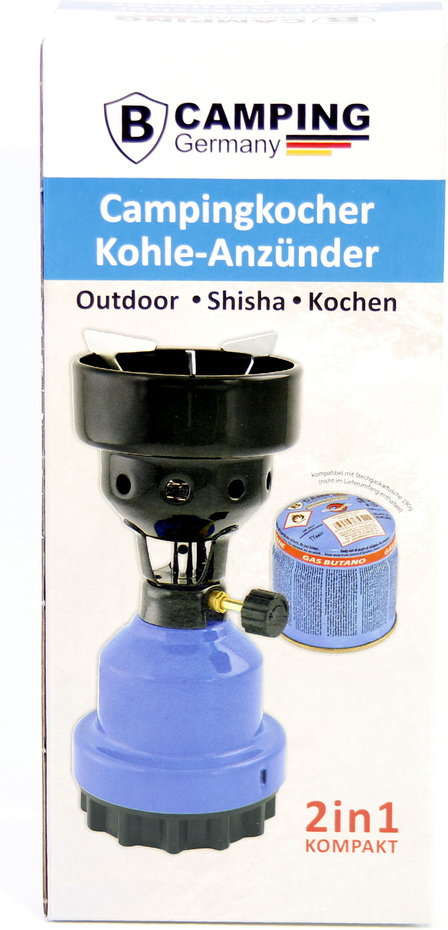 Campingkocher & Kohle Anzünder 2in1 Metall Gaskocher Shishakocher aus Metall in Blau