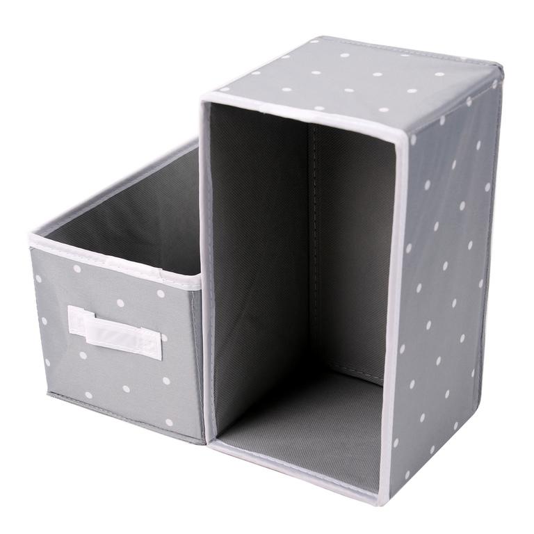 aufbewahrungsboxen stoff verst rkt 2er set grau m punkten 14x26x13 5 cm neu ebay. Black Bedroom Furniture Sets. Home Design Ideas