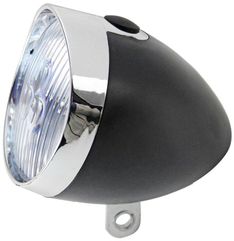 led fahrrad scheinwerfer im retro look schwarz chrom led fahrradlampe neu ebay. Black Bedroom Furniture Sets. Home Design Ideas